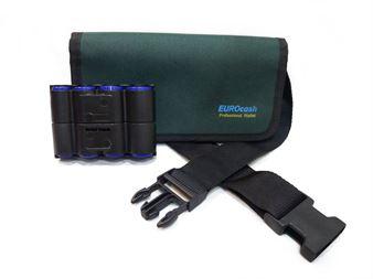 Picture of Eurocash PW8 Double Green - Επαγγελματικό τσαντάκι μέσης και μικρή μαύρη πλαστική κερματοθήκη 8 θέσεων διπλής όψεως